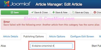 Joomla 3.0 - Change Article Alias in Article Publishing Options