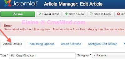 Joomla 3.0 - Save Error - Another article from this category has same alias