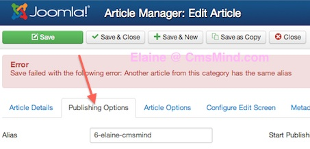 Joomla 3.0 - Publishing options of article with duplicate alias
