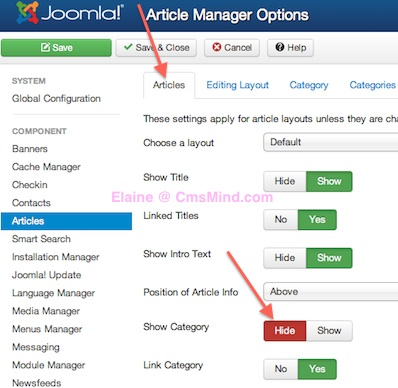Joomla 3.0 Tutorial - Remove Category Name from Articles in Joomla - Article Manager Options  Hide Category Name