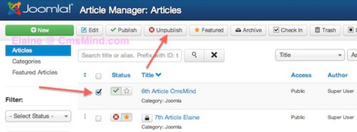 joomla 3 unpublish article in article manager 1 Joomla 3.0   How to Unpublish an Article