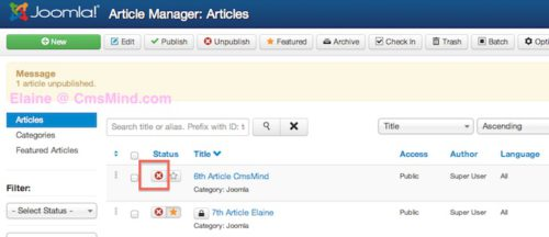 joomla 3 unpublish article in article manager 2 Joomla 3.0   How to Unpublish an Article
