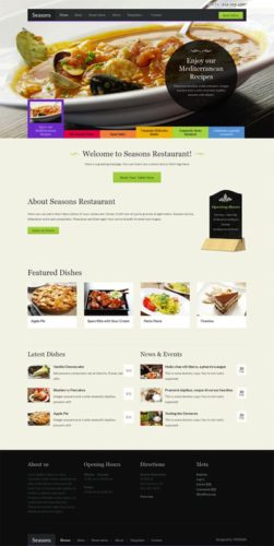 responsive restaurant template wordpress theme events online reservations seasons Cost to Make a Restaurant Website with Restaurant Wordpress Theme   Seasons