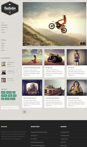responsive tumblr clone wordpress theme bulletin 2 Cost to Make a Tumblr Like Site with Responsive Tumblr Theme   Bulletin