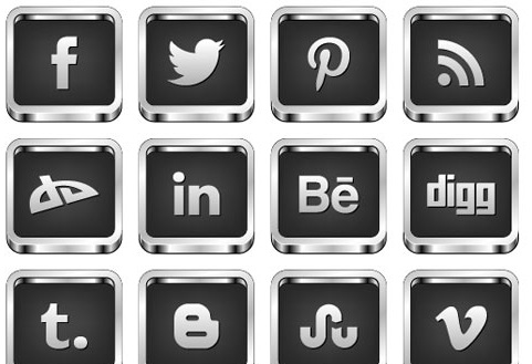 2013 social media icons 3d white on black Best of 2013 Free Social Media Icons for Bloggers