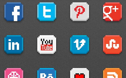 2013 social media icons 8 bit Best of 2013 Free Social Media Icons for Bloggers