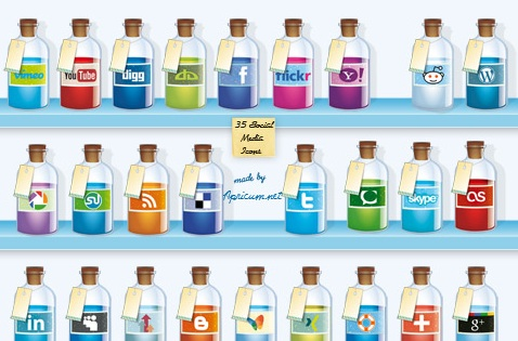 2013 social media icons bottles Best of 2013 Free Social Media Icons for Bloggers