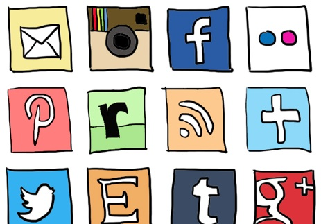2013 social media icons drawing doodle Best of 2013 Free Social Media Icons for Bloggers