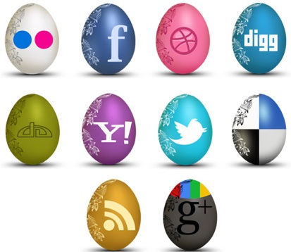 2013 social media icons egg shaped Best of 2013 Free Social Media Icons for Bloggers