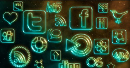 2013 social media icons glowing neon Best of 2013 Free Social Media Icons for Bloggers