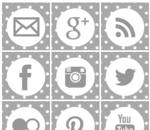 2013 social media icons grey polka dots Best of 2013 Free Social Media Icons for Bloggers