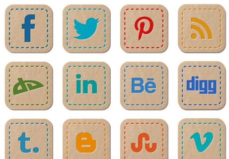 2013 social media icons hand stitched Best of 2013 Free Social Media Icons for Bloggers