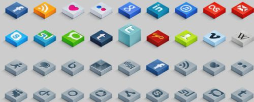 2013 social media icons isometric 3d Best of 2013 Free Social Media Icons for Bloggers