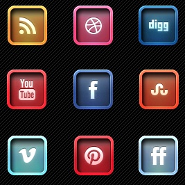 2013 Social Media Icons - Letter Pressed