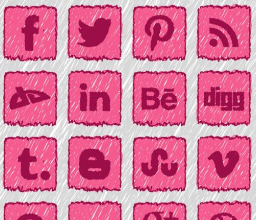 2013 Social Media Icons - Pink Coloring for Children & Schools