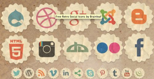2013 social media icons retro Best of 2013 Free Social Media Icons for Bloggers