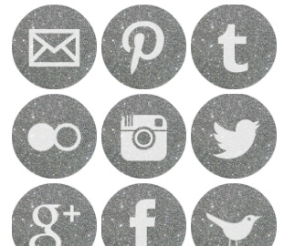 2013 Social Media Icons - Round Silver Sparkle