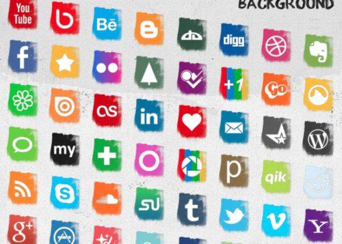 2013 social media icons splash brush strokes Best of 2013 Free Social Media Icons for Bloggers