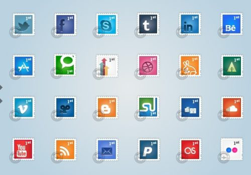 2013 social media icons stamps Best of 2013 Free Social Media Icons for Bloggers