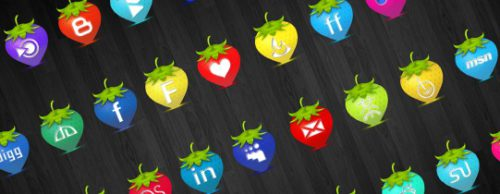 2013 social media icons strawberry Best of 2013 Free Social Media Icons for Bloggers