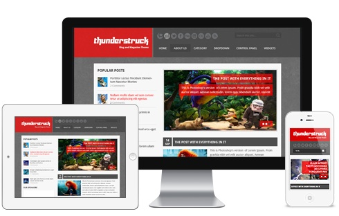 Features of Responsive Thunderstruck WordPress Theme by Themeforest