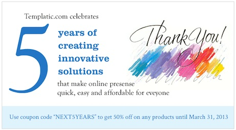Templatic coupon discount 50 percent off 5 anniversary march 2013 50% Off all Templatic Wordpress Themes