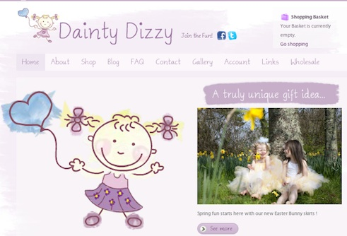 Dainty Dizzy online store uses Joomla for website