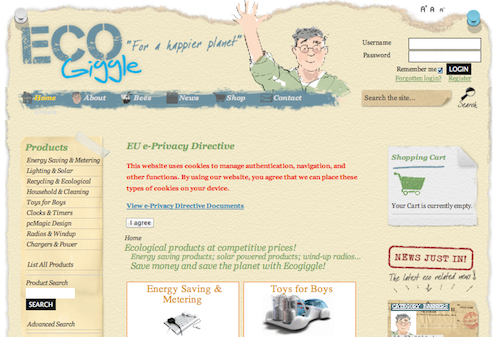 EcoGiggle News Online Store uses Joomla for website