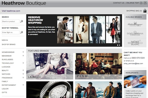 London Heathrow Airport Boutique Site using Joomla for website