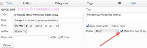 make wordpress post sticky all posts quick edit make sticky 3 2 Ways to Make Wordpress Posts Sticky