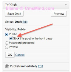 make wordpress post sticky edit post visibility 1 2 Ways to Make Wordpress Posts Sticky