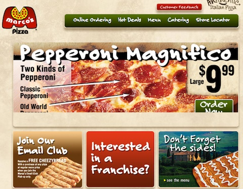 Marco's Pizza business uses Joomla for Website