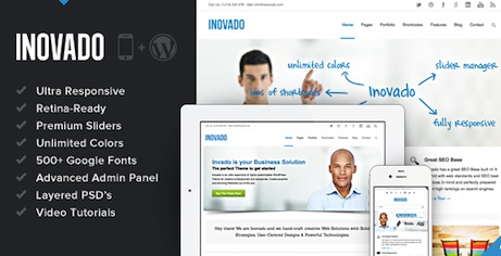 responsive business corporate website wordpress theme inovado 2 Professional Business Wordpress Theme   Inovado