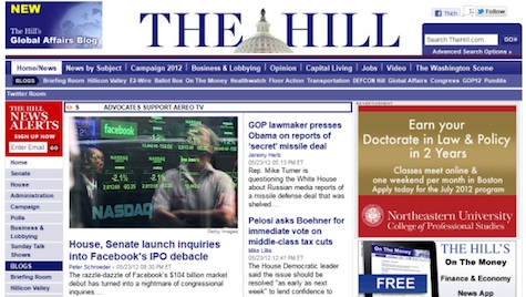 The Hill Politiical Newspaper uses Joomla for website