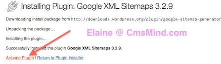 Google XML Sitemap - Activate Plugin