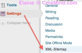 Google XML Sitemap - Go to Settings