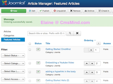 joomla 3 sort featured articles by number saved elaine cmsmind 6 Joomla 3.0 Tutorial   How to Reorder Featured Articles