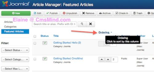 joomla 3 sort featured articles click ordering elaine cmsmind 2 Joomla 3.0 Tutorial   How to Reorder Featured Articles