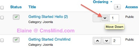 joomla 3 sort featured move article down elaine cmsmind 3 Joomla 3.0 Tutorial   How to Reorder Featured Articles