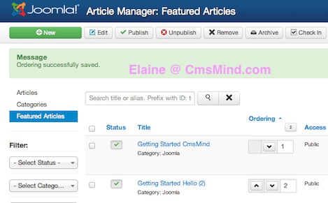 joomla 3 sort featured move article down saved elaine cmsmind 4 Joomla 3.0 Tutorial   How to Reorder Featured Articles