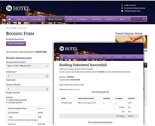 Responsive 5 star Hotel WordPress Theme - Booking Reservations Module