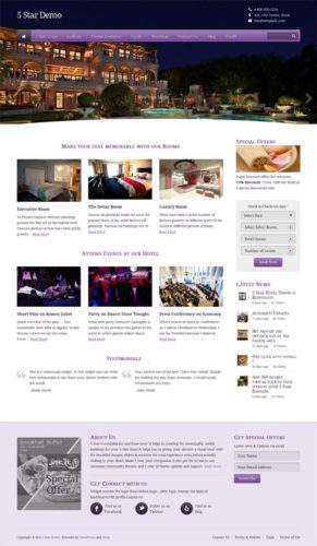 Responsive 5 star Hotel WordPress Theme