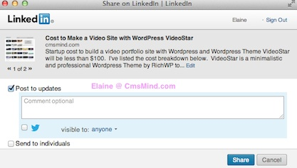 wordpress add linkedin button to posts cmsmind linkedin window 7 Add Linkedin Share Button to your Wordpress Posts