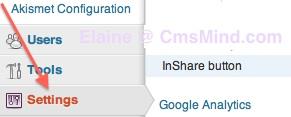 Go to LinkedIn InShare WordPress Plugin Settings