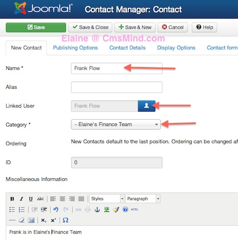 joomla 3 1 1 contact manager new contact details Joomla 3.1.1 Tutorial   How to Create New Contacts in Contact Manager