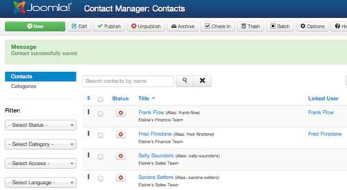joomla 3 1 1 contact manager new contacts list Joomla 3.1.1 Tutorial   How to Create New Contacts in Contact Manager