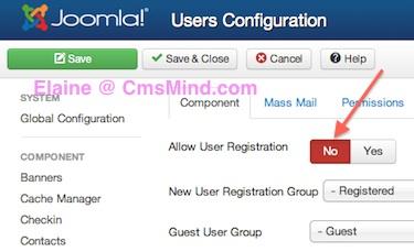 Joomla 3.1.1 Tutorial - Disable User Registration in User Manager