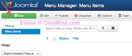 Joomla 3.1.1 Create New Menu Item in Menu Manager