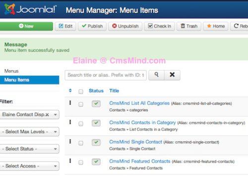 Joomla 3.1.1 New Menu Items in Menu Manager