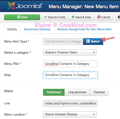 Joomla 3.1.1 Create New Menu Item - List All Contacts in Category